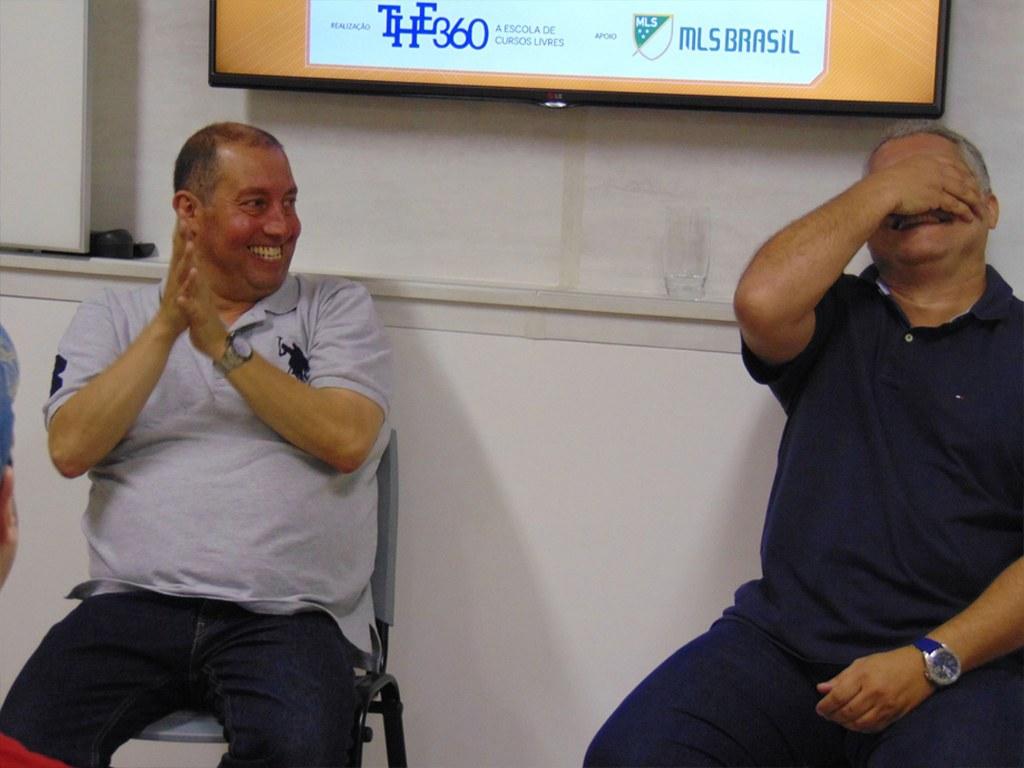 Aula sobre mídia esportiva com Edu Affonso e Osmar Garraffa